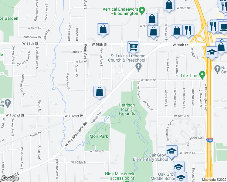 map of restaurants, bars, coffee shops, grocery stores, and more near W Old Shakopee Rd & Morgan Ave S in Bloomington