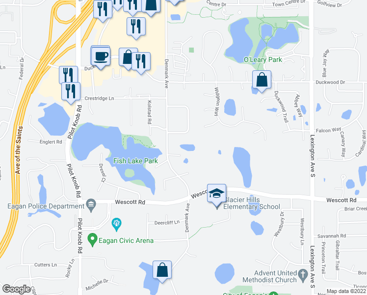 map of restaurants, bars, coffee shops, grocery stores, and more near 3716 Denmark Court East in Eagan