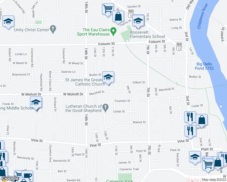 map of restaurants, bars, coffee shops, grocery stores, and more near 939 Gilbert Street in Eau Claire