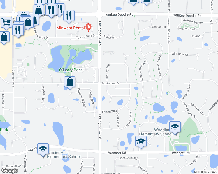 map of restaurants, bars, coffee shops, grocery stores, and more near 3606 Blue Jay Way in Eagan
