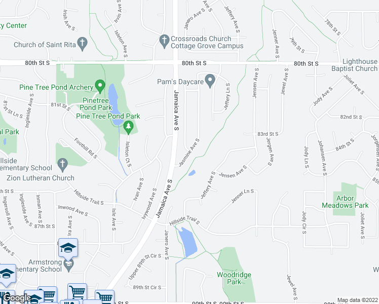 map of restaurants, bars, coffee shops, grocery stores, and more near Janero Avenue South in Cottage Grove