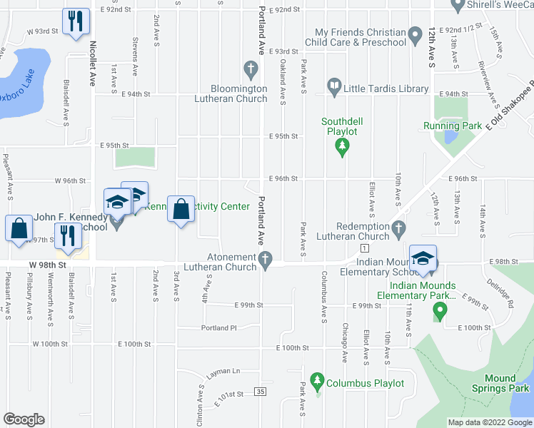 map of restaurants, bars, coffee shops, grocery stores, and more near 9631 Portland Avenue South in Minneapolis