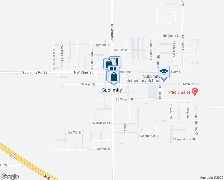 map of restaurants, bars, coffee shops, grocery stores, and more near 11656 Sublimity Road Southeast in Sublimity
