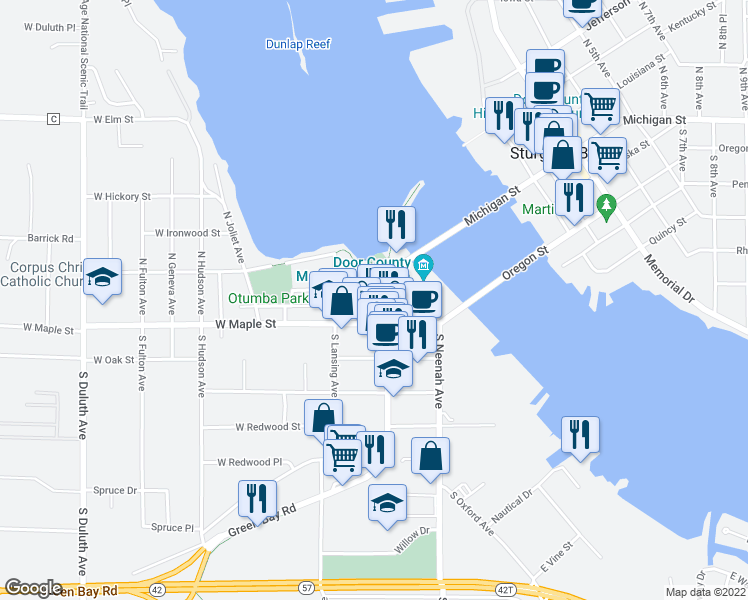 map of restaurants, bars, coffee shops, grocery stores, and more near 49 North Madison Avenue in Sturgeon Bay