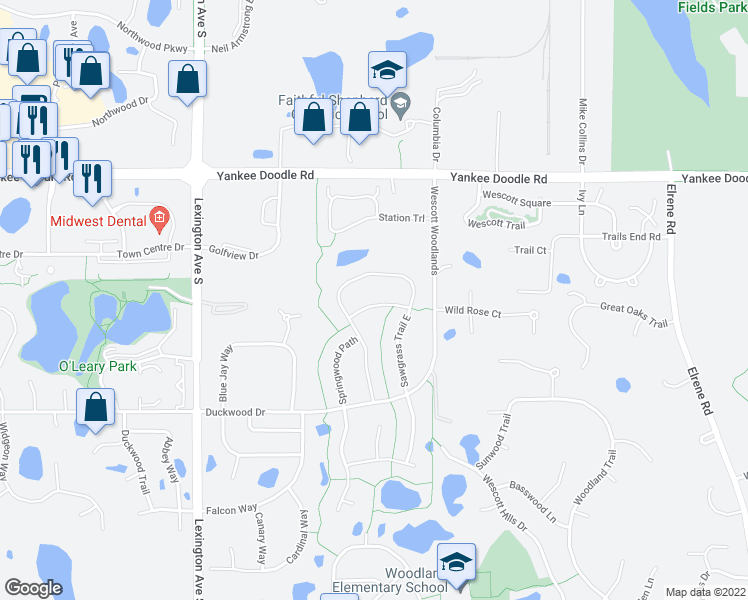 map of restaurants, bars, coffee shops, grocery stores, and more near 3607 Springwood Court in Eagan