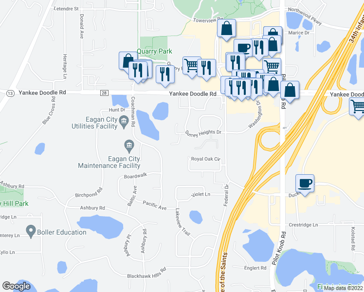 map of restaurants, bars, coffee shops, grocery stores, and more near 3484 Greenwood Court South in Eagan