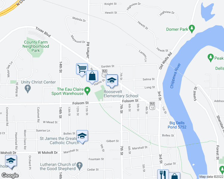 map of restaurants, bars, coffee shops, grocery stores, and more near 2901-3099 8th Street in Eau Claire