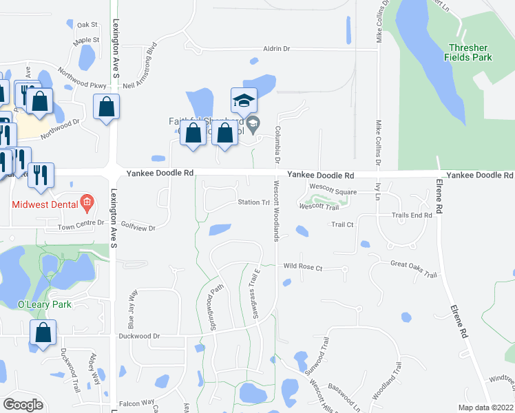 map of restaurants, bars, coffee shops, grocery stores, and more near 1000 Station Trail in Eagan