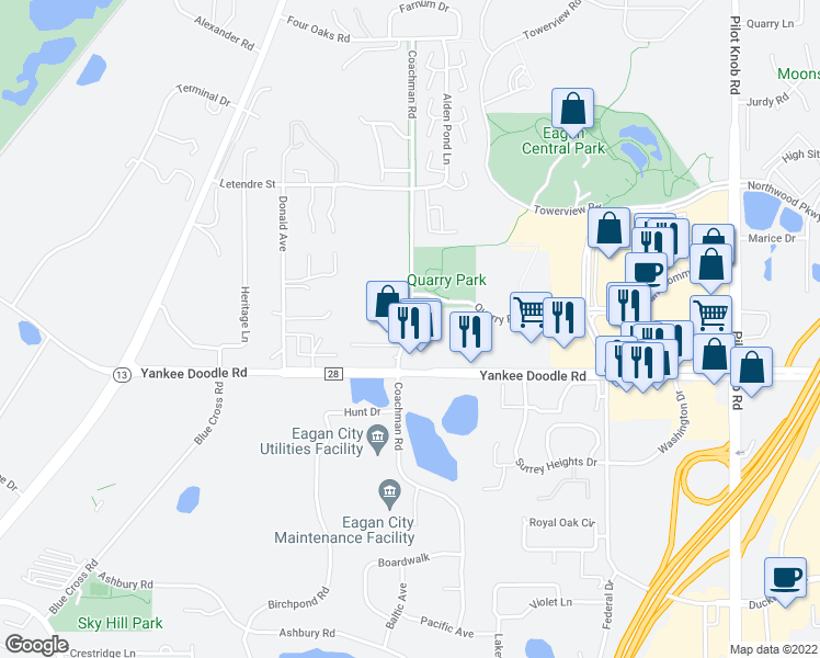 map of restaurants, bars, coffee shops, grocery stores, and more near Coachman Rd in Eagan