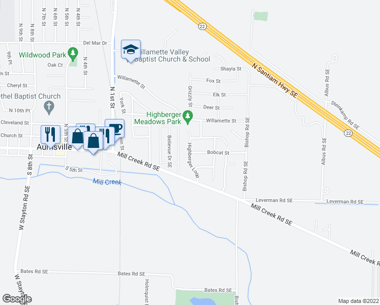 map of restaurants, bars, coffee shops, grocery stores, and more near Highberger Loop in Aumsville