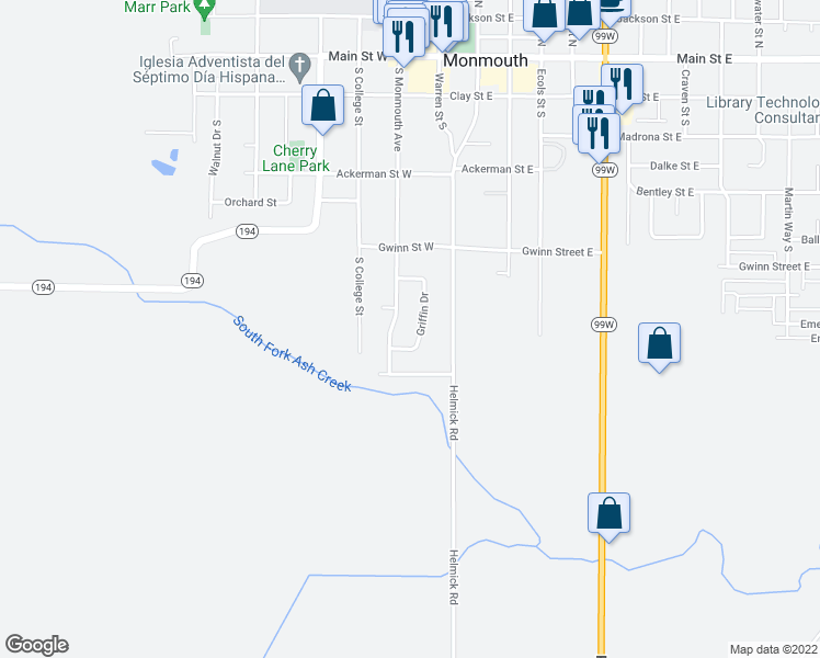 map of restaurants, bars, coffee shops, grocery stores, and more near 828 Griffin Drive in Monmouth