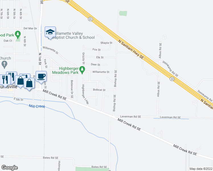 map of restaurants, bars, coffee shops, grocery stores, and more near 973 Highberger Loop in Aumsville