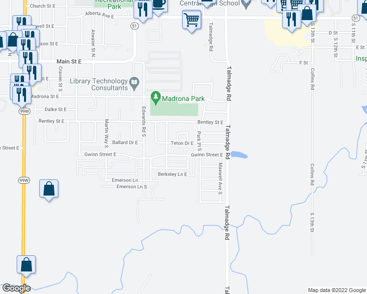 map of restaurants, bars, coffee shops, grocery stores, and more near 1685 Teton Drive East in Monmouth