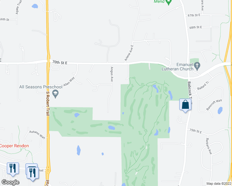map of restaurants, bars, coffee shops, grocery stores, and more near 7182 Angus Avenue in Inver Grove Heights