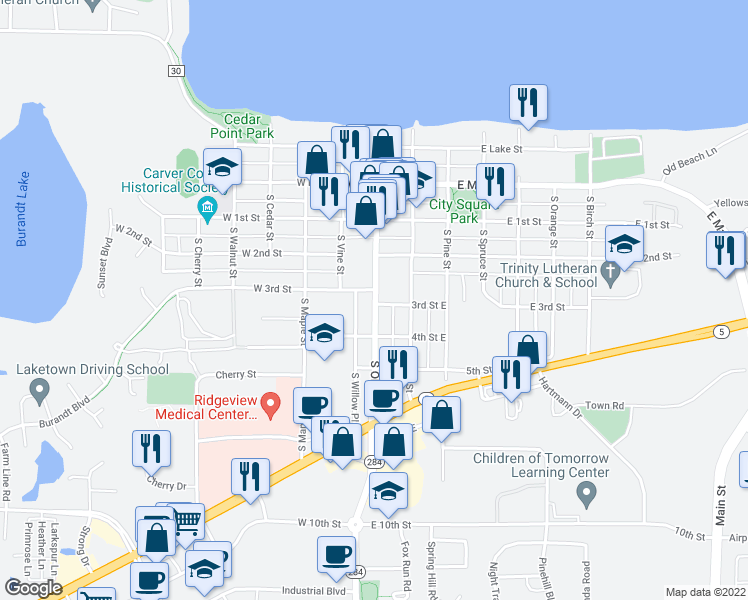 map of restaurants, bars, coffee shops, grocery stores, and more near 200 South Olive Street in Waconia