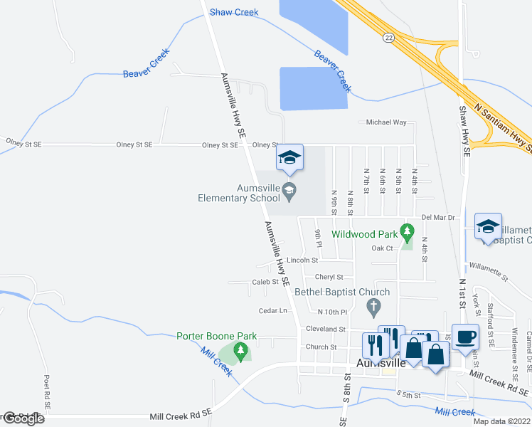 map of restaurants, bars, coffee shops, grocery stores, and more near Aumsville Highway Southeast in Aumsville