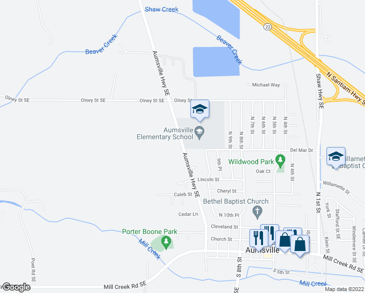 map of restaurants, bars, coffee shops, grocery stores, and more near 561-573 Aumsville Highway Southeast in Aumsville