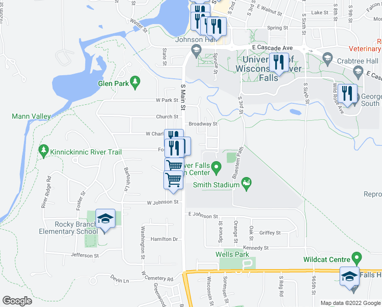 map of restaurants, bars, coffee shops, grocery stores, and more near 919 Sycamore Street in River Falls