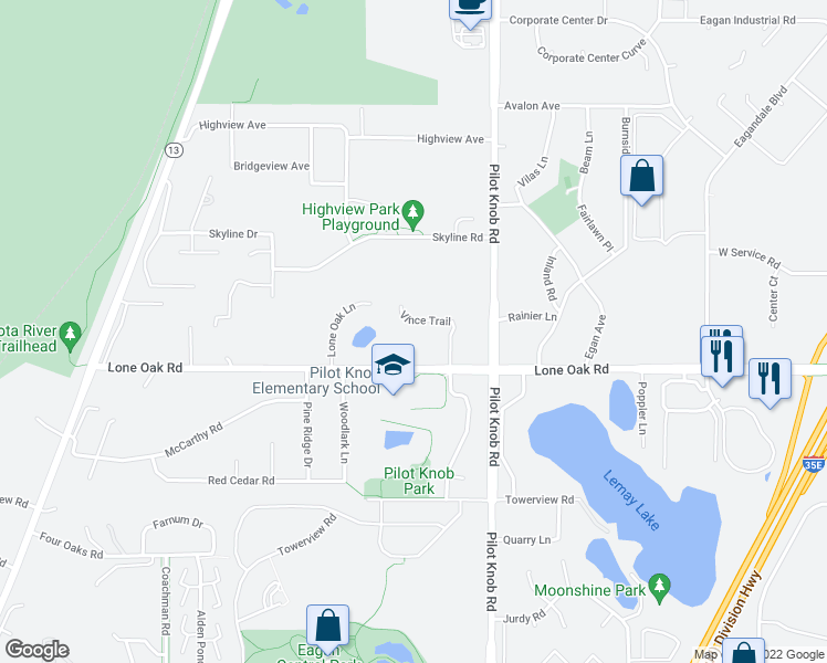 map of restaurants, bars, coffee shops, grocery stores, and more near 1413 Vince Tr in Eagan