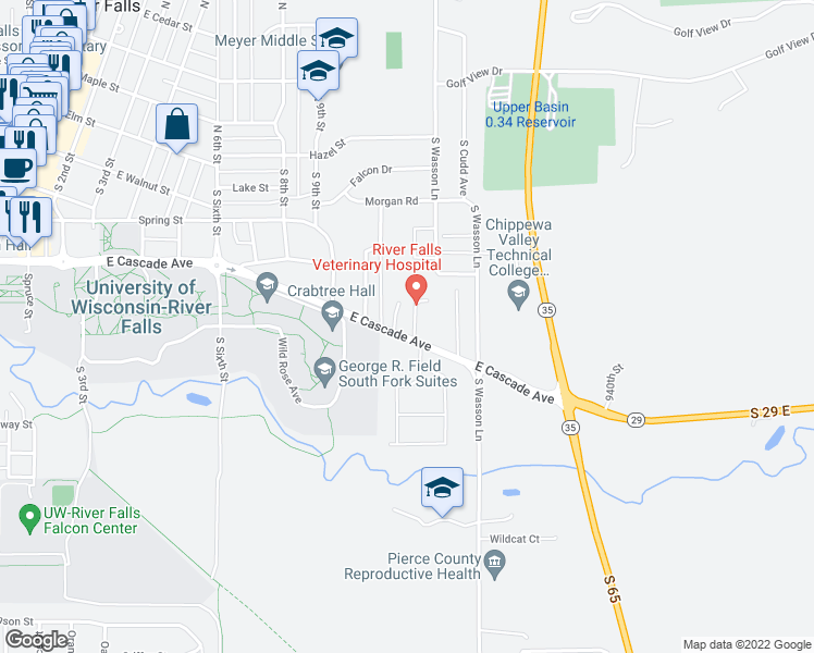 map of restaurants, bars, coffee shops, grocery stores, and more near 596 Birchcrest Drive in River Falls