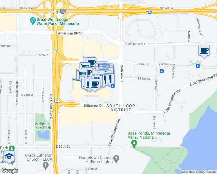 map of restaurants, bars, coffee shops, grocery stores, and more near 401 East Broadway in Bloomington
