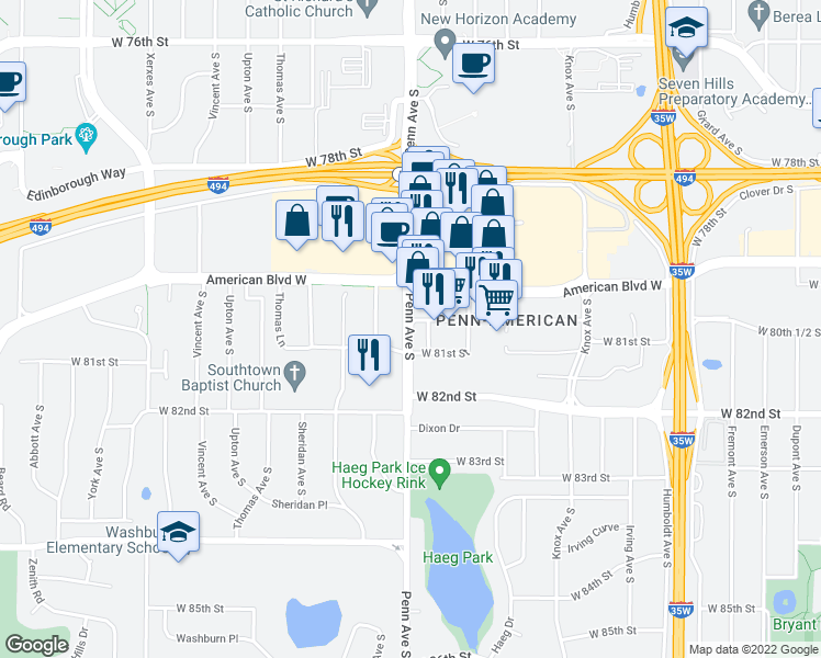 map of restaurants, bars, coffee shops, grocery stores, and more near 8040 Penn Avenue South in Minneapolis