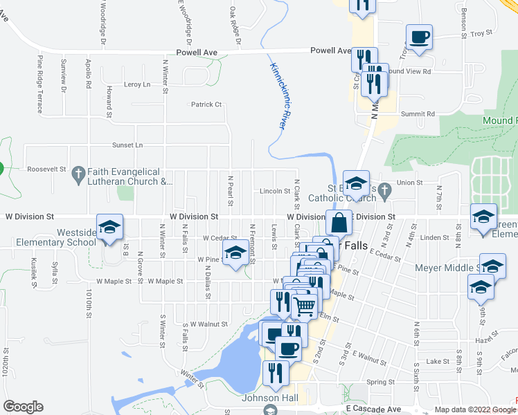 map of restaurants, bars, coffee shops, grocery stores, and more near 525 North Fremont Street in River Falls
