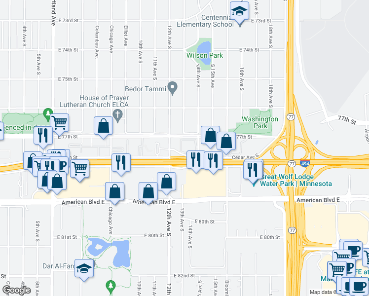 map of restaurants, bars, coffee shops, grocery stores, and more near 1306 East 78th Street in Minneapolis