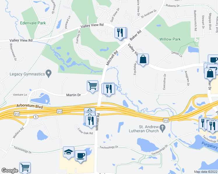 map of restaurants, bars, coffee shops, grocery stores, and more near 14301 Martin Drive in Eden Prairie
