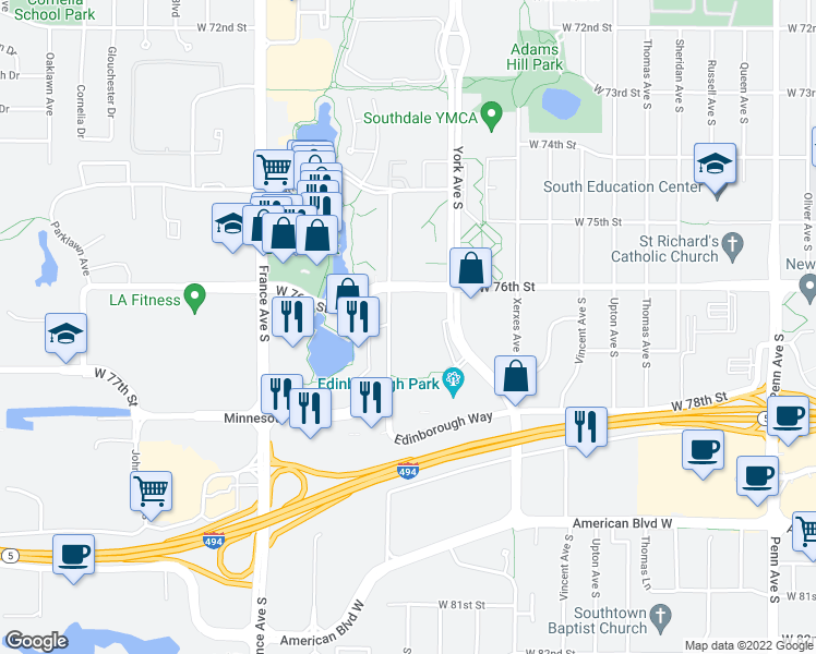 map of restaurants, bars, coffee shops, grocery stores, and more near 7606 York Avenue South in Minneapolis