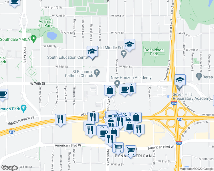 map of restaurants, bars, coffee shops, grocery stores, and more nea