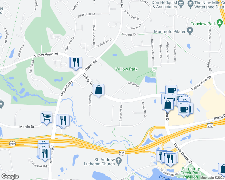 map of restaurants, bars, coffee shops, grocery stores, and more near 13670 Valley View Road in Eden Prairie