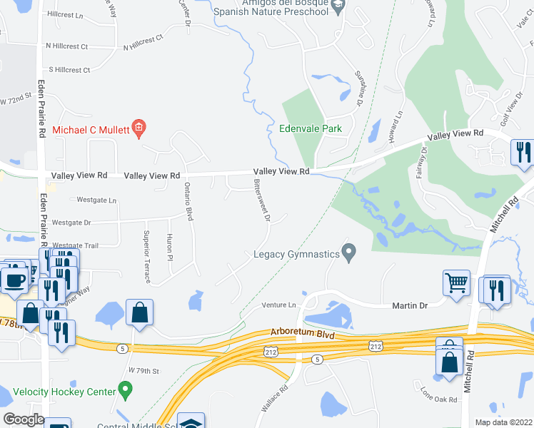 map of restaurants, bars, coffee shops, grocery stores, and more near 7455 Bittersweet Drive in Eden Prairie