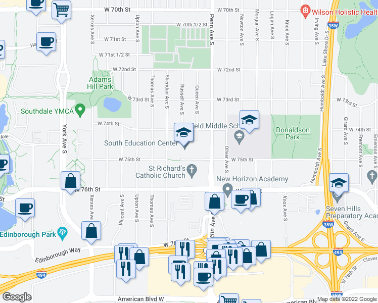 map of restaurants, bars, coffee shops, grocery stores, and more near 7500 Penn Avenue South in Minneapolis