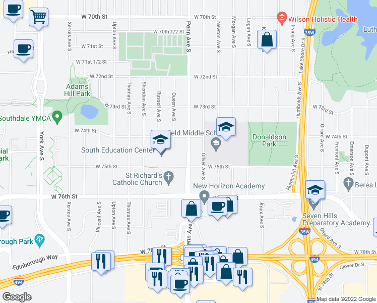 map of restaurants, bars, coffee shops, grocery stores, and more near 7420-7450 Penn Avenue South in Richfield