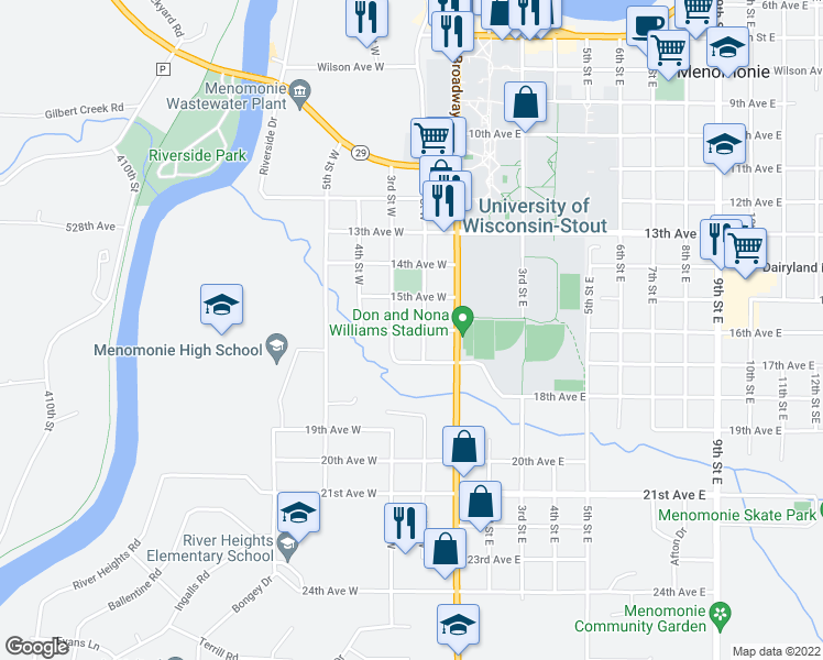 map of restaurants, bars, coffee shops, grocery stores, and more near 16th Avenue West in Menomonie