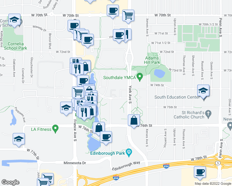 map of restaurants, bars, coffee shops, grocery stores, and more near 3400 Parklawn Avenue in Edina