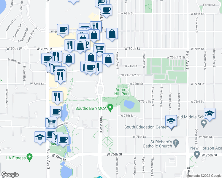map of restaurants, bars, coffee shops, grocery stores, and more near 7201 York Avenue South in Edina