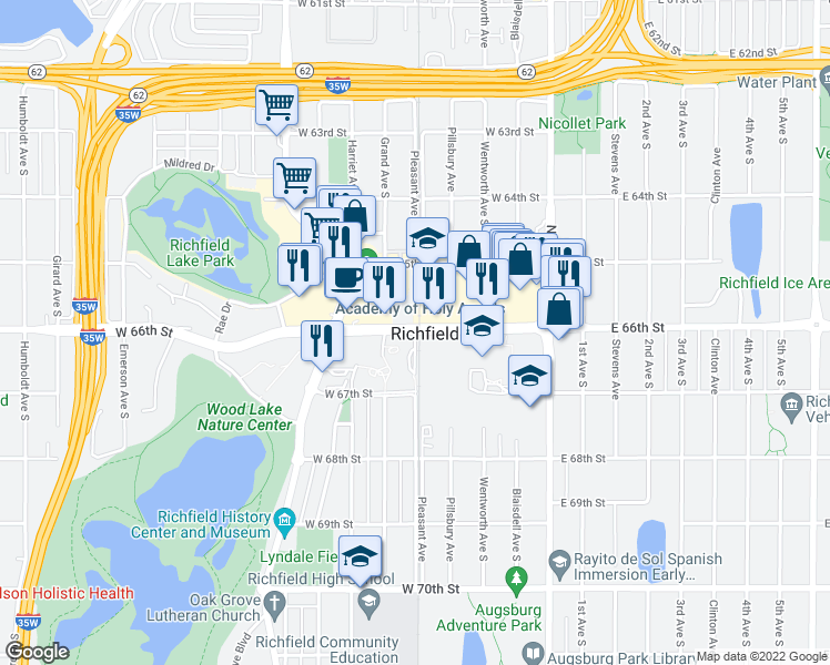 map of restaurants, bars, coffee shops, grocery stores, and more near 6600 Pleasant Avenue South in Richfield