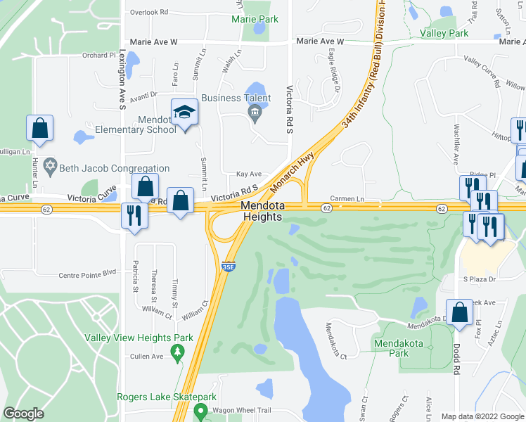map of restaurants, bars, coffee shops, grocery stores, and more near in Mendota Heights