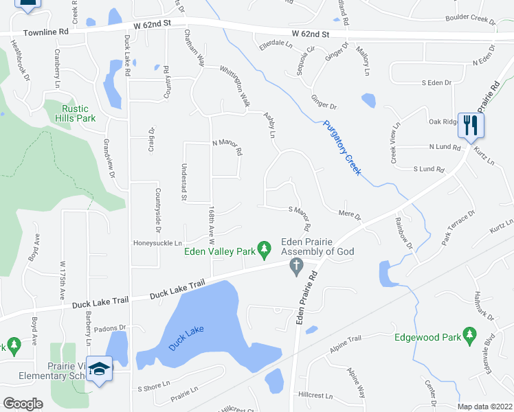 map of restaurants, bars, coffee shops, grocery stores, and more near S Manor Rd in Eden Prairie