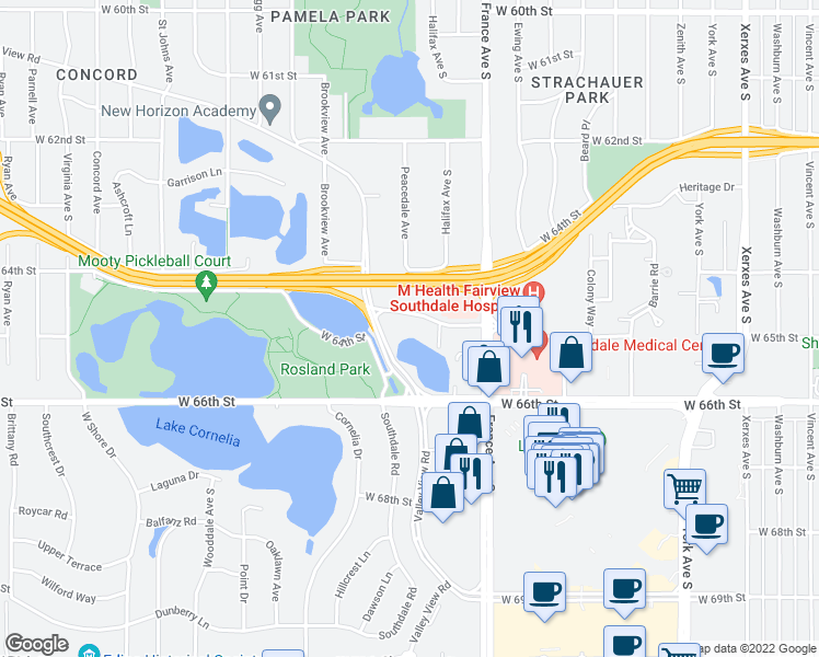 map of restaurants, bars, coffee shops, grocery stores, and more near 4025 West 65th Street in Edina