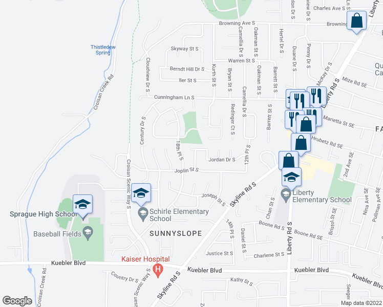 map of restaurants, bars, coffee shops, grocery stores, and more near 1724 Jordan Drive South in Salem