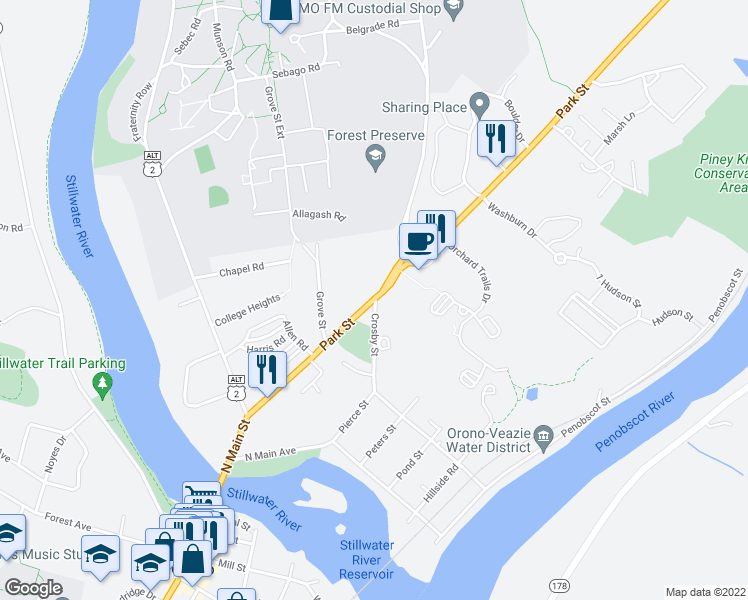 map of restaurants, bars, coffee shops, grocery stores, and more near 88 Park Street in Orono