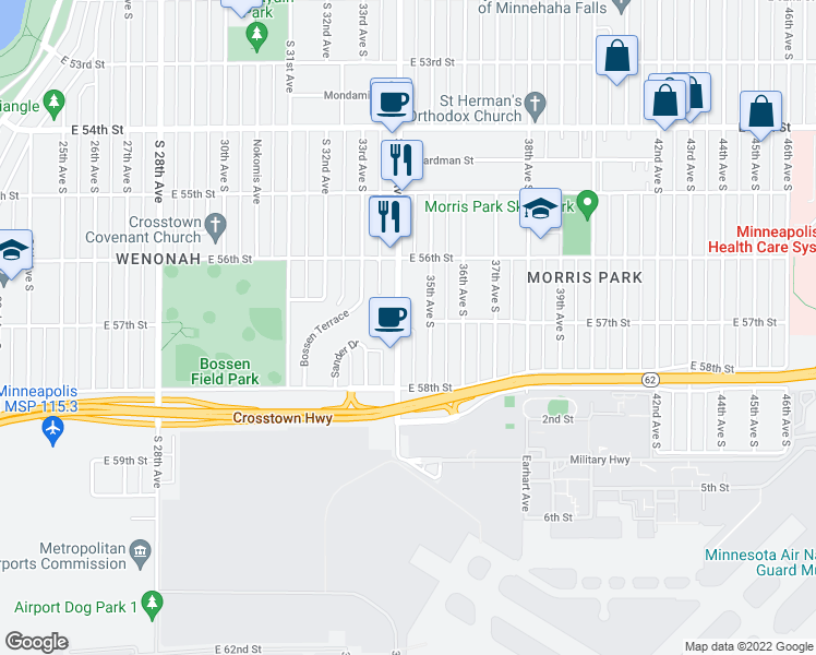 map of restaurants, bars, coffee shops, grocery stores, and more near 5705 34th Ave S in Minneapolis