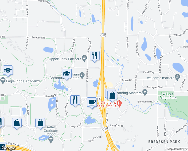 map of restaurants, bars, coffee shops, grocery stores, and more near 5601 Smetana Drive in Minnetonka