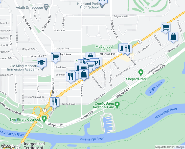 map of restaurants, bars, coffee shops, grocery stores, and more near 1300 West Maynard Drive in Saint Paul