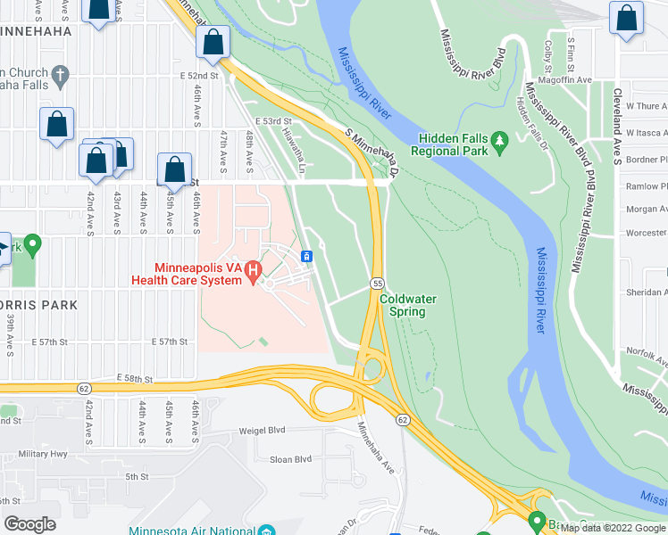 map of restaurants, bars, coffee shops, grocery stores, and more near 5511 Minnehaha Avenue in Minneapolis