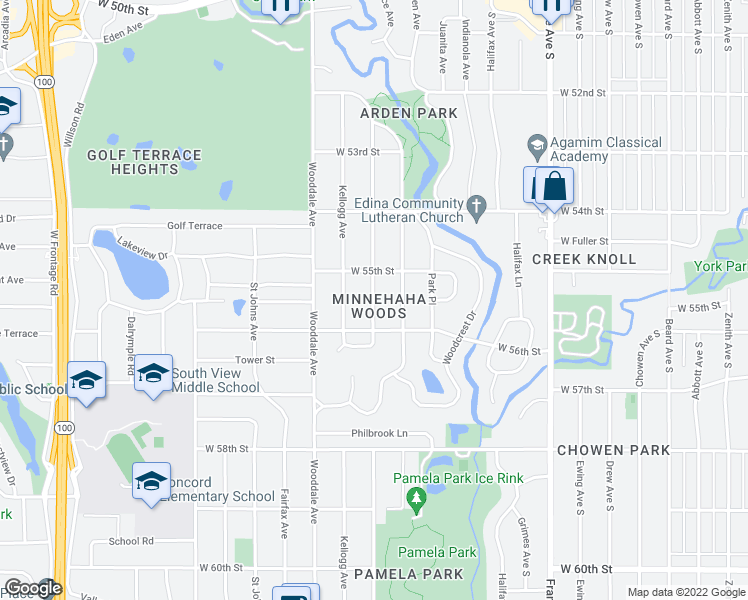 map of restaurants, bars, coffee shops, grocery stores, and more near 5515 Oak Glen Road in Edina