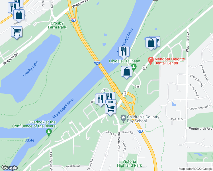 map of restaurants, bars, coffee shops, grocery stores, and more near 139 Stonebridge Road in Saint Paul